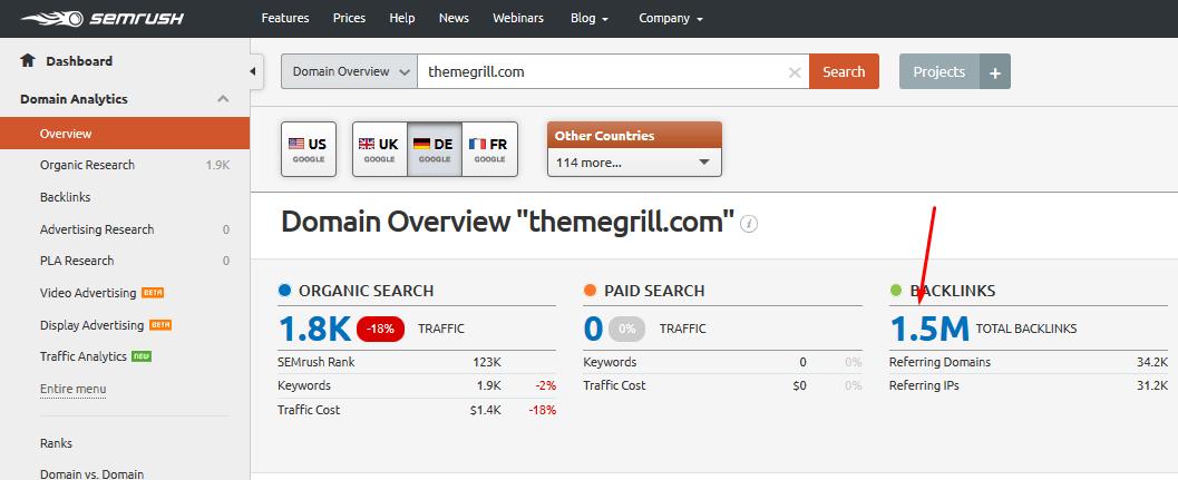 semrush 竞争对手反链