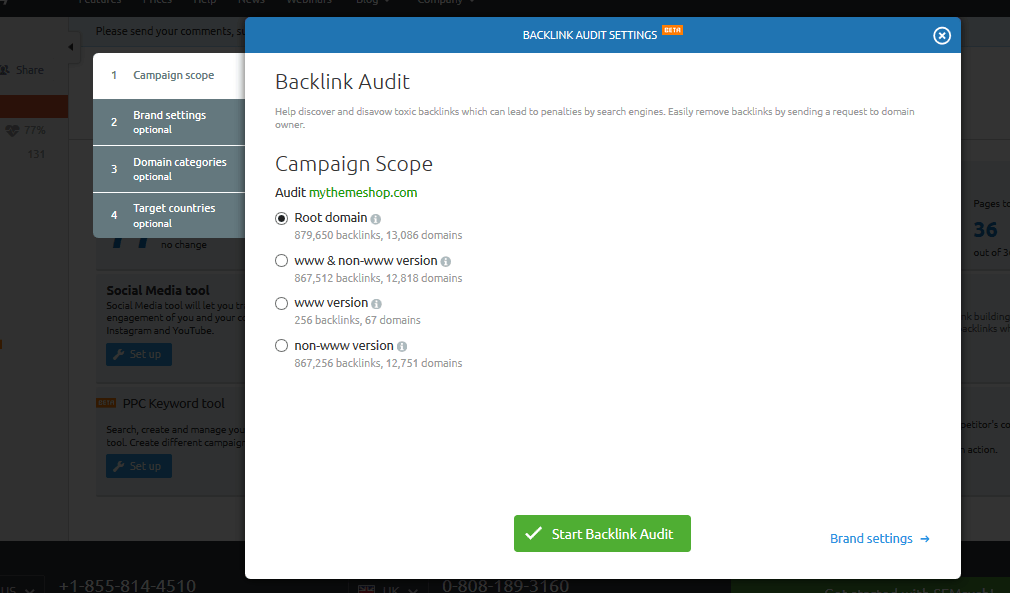 semrush backlink audit campaign scope
