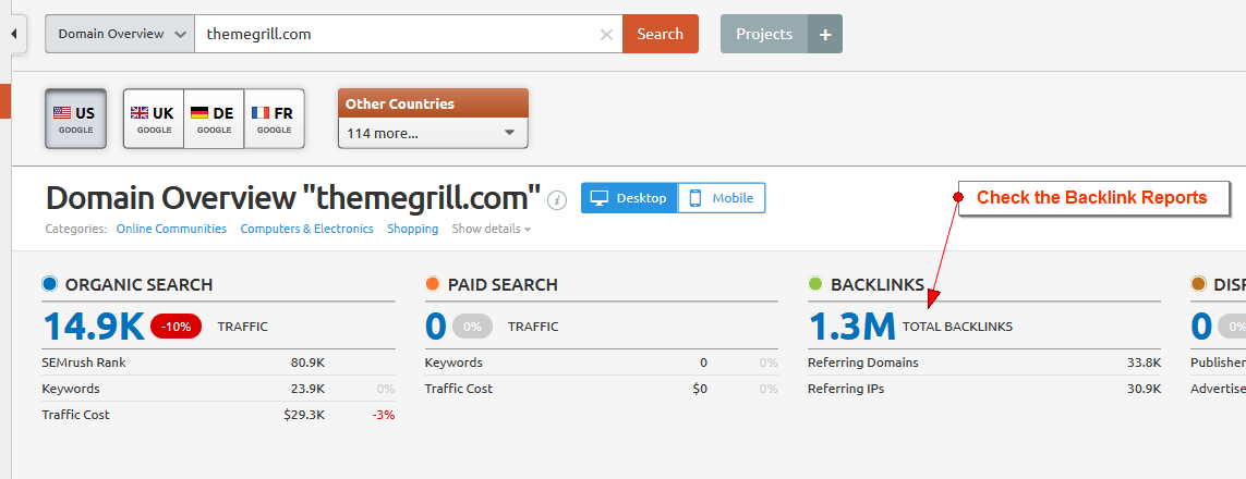 semrush domain overview themegrill