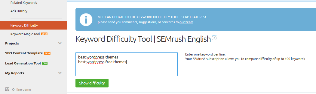 semrush keyword difficulty tool
