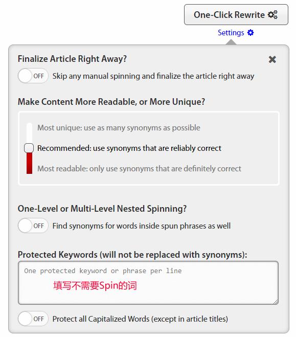 spinrewriter 9.0 spining setting