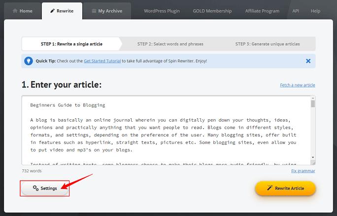 英文改写工具Spin rewriter